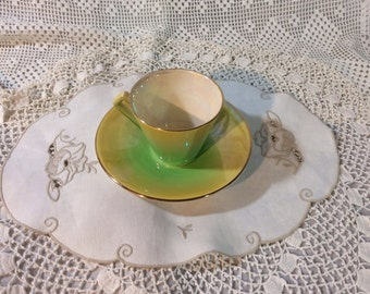 Vintage Royal Winton Art Deco Teacup and Saucer, Rainbow Lustre Apple Green to Yellow, 1930s