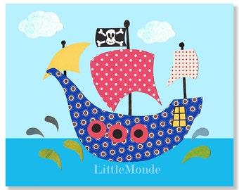 Baby Boy Nursery Prints,Pirate Ship Nursery Print, Pirates, Sea Theme Nursery, Blue nursery, Blue and Red, Toddler Boy Decor, Nursery Wall