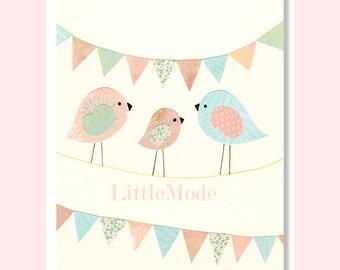 Baby Girl Nursery Prints, Nursery Art, Nursery Wall Decor, Pastel Nursery, Birds Nursery Prints, Blue and Pink, Rose, Girly