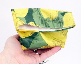 Make up bag , cosmetic organizer, fold over pouch, yellow purse, foldover clutch