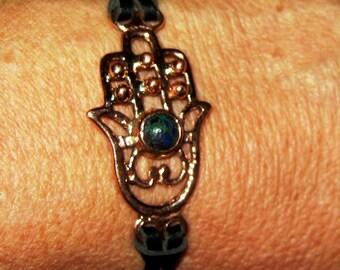Silver Fatimas hand bracelet with azurite bead