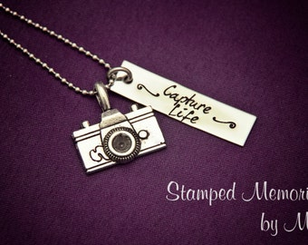 Stainless Steel hand stamped camera photographer necklace, Capture Life or Photography Business name stamped on bar
