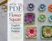 Crochet Pattern Flower Square pattern - ready for immediate download - by CrochetObjet