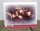 """Christmas Holiday Photograph Greeting Card, 5"""" x 6.5"""", Nature, Christmas Tree Lights"""