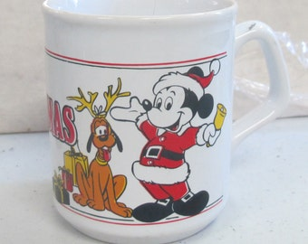 vintage disney mickey mouse & pluto christmas coffee cup
