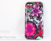 Purple Floral iPhone 5c Tough Case - Paradisa Purpala - Artistic iPhone 5c Case With Green and Purple Retro Floral Art