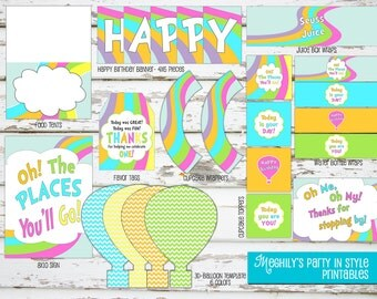 INSTANT DOWNLOAD - Oh, The Places You'll Go BIRTHDAY Printable Package