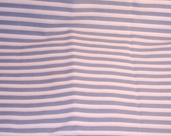 Cotton-Blend Fabric BTY- Pale Blue and White Stripes, Ticking - BTY - DESTASH
