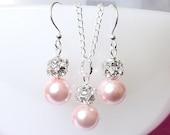 pink bridesmaid jewelry set, pink pearls jewelry, bridesmaid necklace & earrings set, bridesmaid jewelry, pink wedding jewelry set