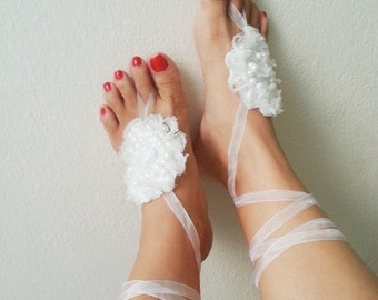 LUX Wedding white barefoot Sandals , Toe thong Bottomless shoes, Foot jewelry,Wedding Shoes , beach wedding,bellydance barefoot sandal
