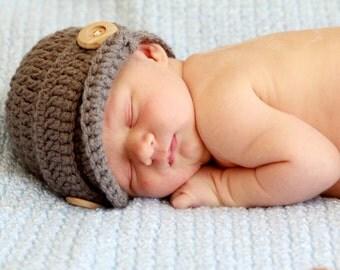 Newborn photography prop set - crocheted newsboy cap and diaper cover - photo prop