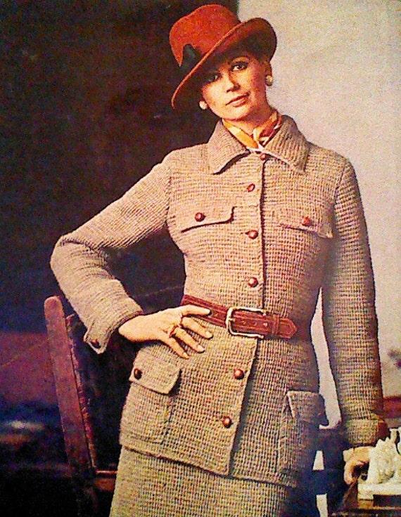 vintage crocheted s safari jacket suit by mamaspatterns
