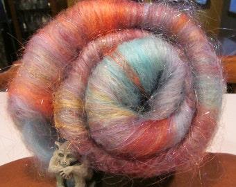SECRETS 4.0 oz, spinning fiber, fiber art batt, fine carded wool, Angelina, roving, felting fiber, fiber batt, doll hair, bling batt,
