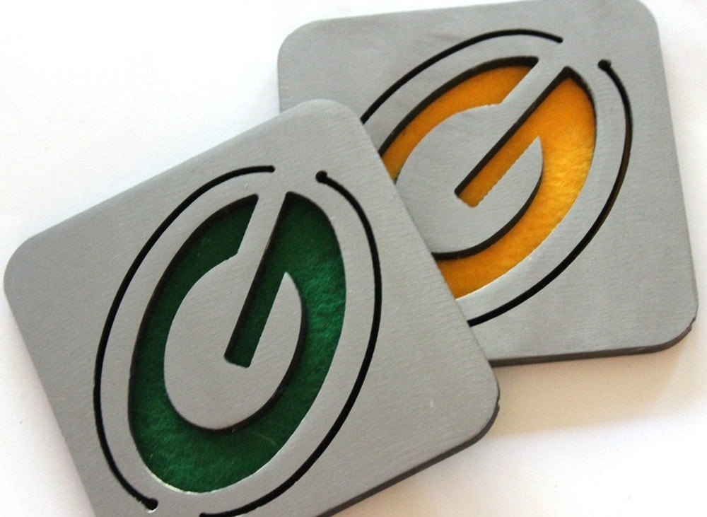 Green Bay Packers Coasters Steel Metal Packers Set Of 4