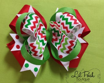 Girls Christmas Chevron Hairbow Girls Christmas Outfit