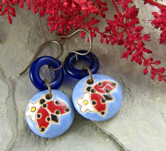 Ladybug Earrings Handmade Ceramic Blue Red OOAK Flower Spring Summer Casual