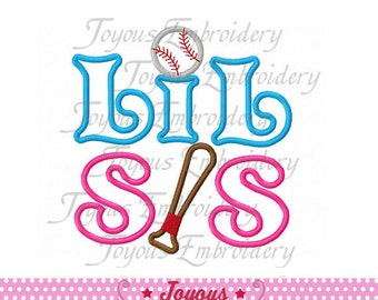 Instant Download Lil Sis With Baseball Applique Machine Embroidery Design NO:1467