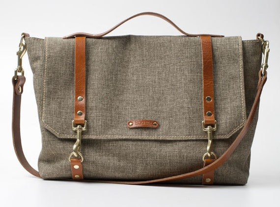 ONLY ONE Large Canvas Leather Messenger Bag with italian
