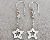 Native American Earrings, American Indian Silver Earrings, Hammered Silver Earrings, Star Earrings, Whimsical Jewelry, Stars, Star Jewelry