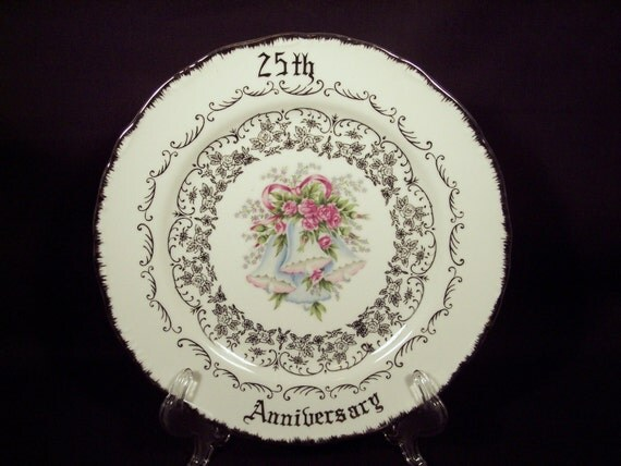 Silver 25th Wedding Anniversary: 25th Wedding Anniversary Plate Dish Silver Norcrest