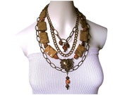 RESERVED*** for Veronika K. ~ANCIENT BEAUTY Metal Chain Link & Marble Stone three strand necklace