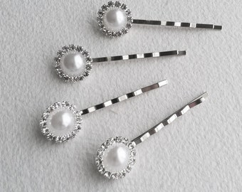 White Pearl Hairpins,  4 pc - Bridal hair accessories, pearl hair clip, bridal hairpin, silver, hair accessory, bobby pin WHITE