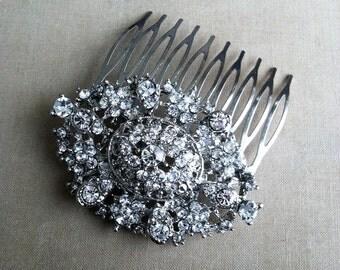 Bridal Hair Comb, SALE,Rhinestone hair comb, Filigree , Art Deco Comb, bridal comb, head piece wedding rhinestone OVAL LARGE Filigree