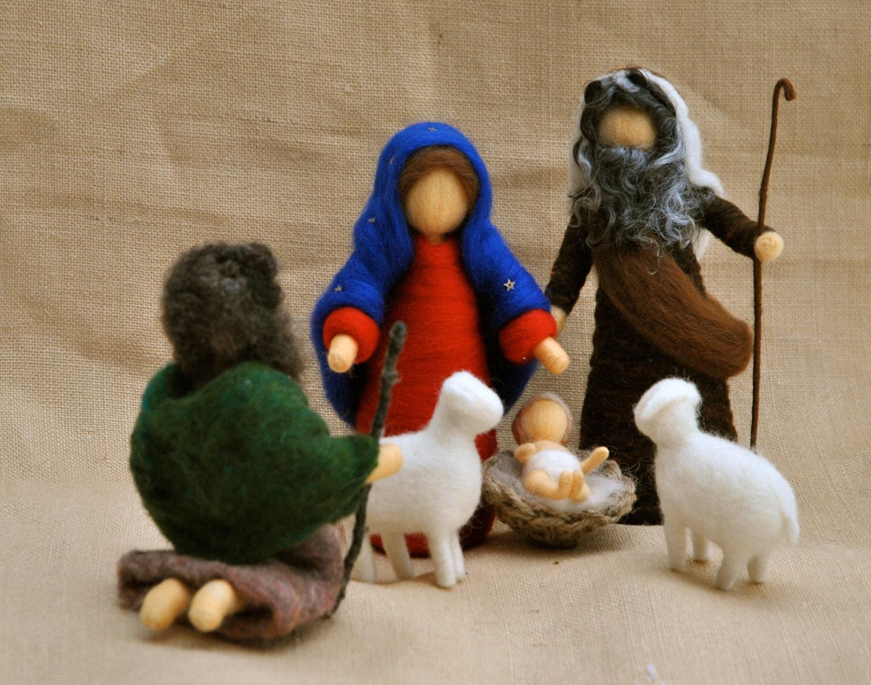 christmas scene waldorf inspired needle felted dolls nativity. Black Bedroom Furniture Sets. Home Design Ideas