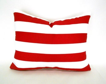 60% CLEARANCE SALE Lumbar Decorative Pillow Cover Premier Prints Stipe Canopy Lipstick Red White