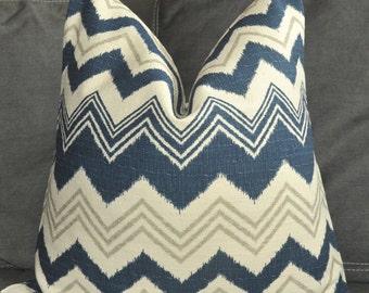 Pillow Cover, Decorative Pillow, Throw Pillow, Toss Pillow, Sofa Pillow, Blue Zigzag, Blue Chevron, 18x18 inch, Home Furnishing, Home Decor