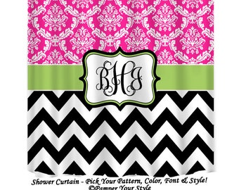 Hot Pink Black and Green Monogrammed Girls Shower Curtain, Custom Girls Shower Curtain, Girls Personalized Bathroom Curtain, Damask Chevron