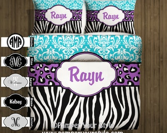Damask, Zebra and Leopard Bedding  -  Personalize with Name or Monogram - Pick Your Color and Size - Create My Own Bedding