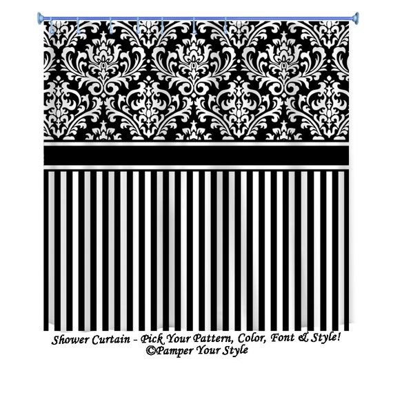 Items Similar To Damask And Stripe Shower Curtain Black And White Personalized Shower Curtain