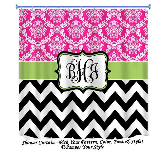 Pink and Lime Curtain - Damask and Chevron Personalized Shower Curtain ...