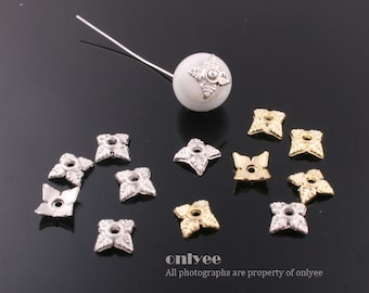 30Pcs -6mm Gold,Rhodium Plated over Alloy,Bail,peg, cap for beads(K509)