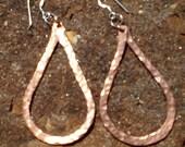 Hammered Copper Teardrop Hoop Earrings on Sterling Silver Earwires