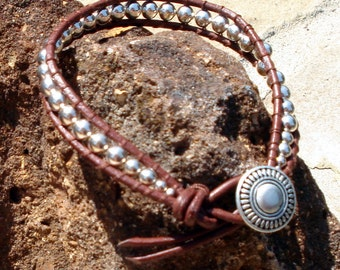 Brown Leather & Sterling Silver Wrap Bracelet