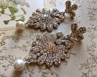 Miranda Victorian style Swarovski rhinestone crystals chandelier wedding bridal dangly earrings