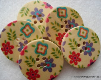 30mm Wooden Buttons, Pink and Lilac Print Buttons, Pack of 10 Cream Buttons, W3030