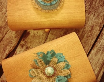 Two Wedding Day Note Containers-Thin wood scroll boxes lined with moss-Blue & Burlap Flowers
