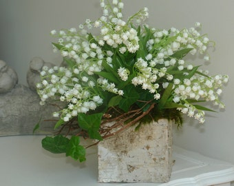 wedding centerpieces lily of the valley birch bark square vases wedding events centerpieces
