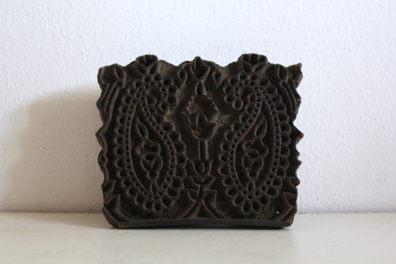 Antique Indian Wood Stamp Hand Carved  Flowers and Cornucopias