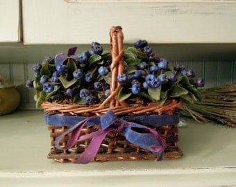 Vintage Country Farmhouse Style  Basket with Blueberries