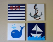 SALE. Nautical nursery decor. Set of 4 12x12 Hand Painted Canvases.
