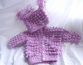 Baby girl cardigan and Hat Set ,,Hand made in a popcorn stitch ,,,pink and purple and white..3x6months