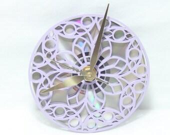 Round Purple Filigree Wall Clock, Lavender Scrollsaw, Beth Baker Artist