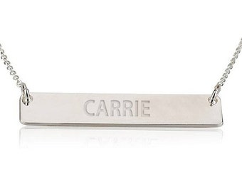 Personalized Name Necklace 925 Sterling Silver - Name Bar Choose Any Name