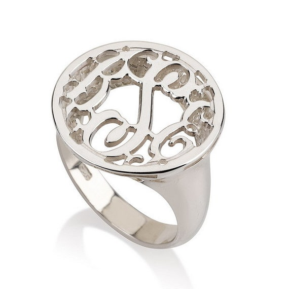 monogram ring 925 sterling silver by personalizednecklace