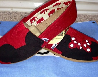 Mickey + Minnie Inspired (Red Bow Only) Inspired Custom TOMS Shoes