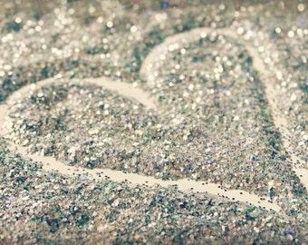 Glitter Heart Photography Still Life Silver Glitter Heart Bokeh Romantic Fine Art Print
